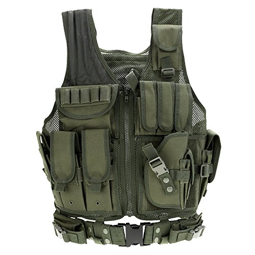 Lixada Tactical Vest Adjustable Breathable Outdoor Airsoft Vest for Hunting, Fishing, Army Fans, CS War Game, Survival Game, Combat Training