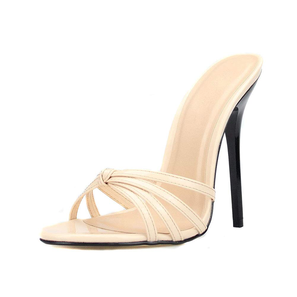 Beige Women's Rome Slim High Heel Flip Flop Round Head Non-Slip High Heel Sandals Beach Travel shoes (Heel Height  13 cm)