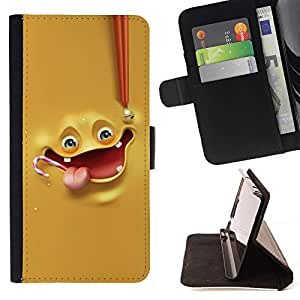 DEVIL CASE - FOR Apple Iphone 6 PLUS 5.5 - Funny Yellow Face Melt - Style PU Leather Case Wallet Flip Stand Flap Closure Cover