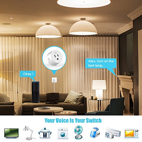 EFUN SH330W 2 PACK Wi-Fi Smart Plug Outlet,No Hub Required,Overload Protection,Fire Retardant Material,Space Saving,Works with Alexa and Google Assistant by EFUN (Image #4)
