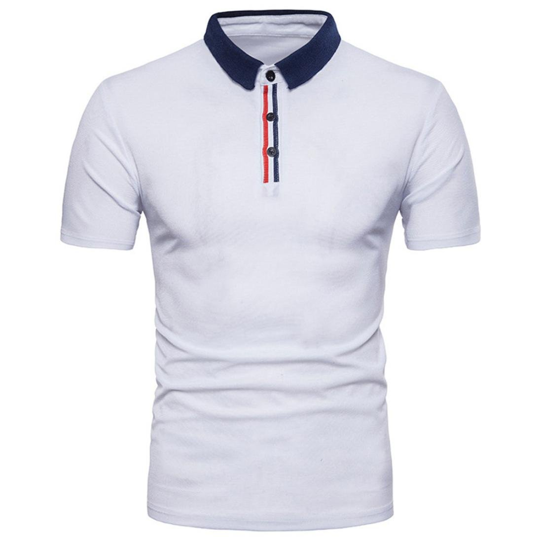 Anxinke Men Solid Short Sleeve Button-Down Casual Slim Fit Shirts (S, White B)