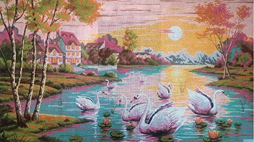 SWANS IN THE LAKE HUGE NEEDLEPOINT CANVAS