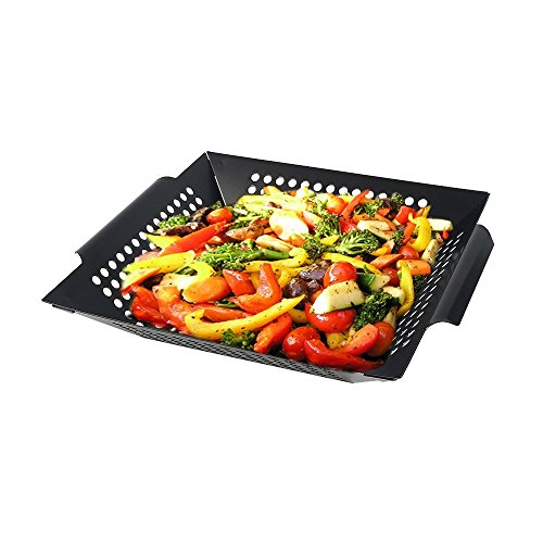 Arctic Monsoon Stainless Steel Non-Stick Grilling Basket, Black