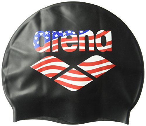 Arena Printed Silicone Swimming Cap, American Flag/Black, Size - Swimming Cap Usa