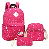 Casual Backpack, Aiduy School Student Backpack Bookbags Lightweight Canvas Daypack with Shoulder Bag and Pencil Case for Girls Women (Rose Red)