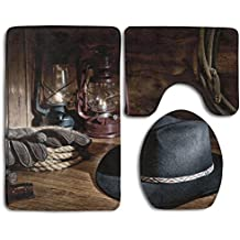 Hexu Western American Rodeo Equipment With Cowboy Felt Hat Ranching Tools Lanterns Bathroom Rug 3 Piece Bath Mat Set Contour Rug And Lid Cover