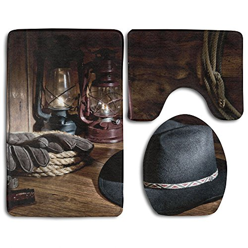Hexu Western American Rodeo Equipment With Cowboy Felt Hat Ranching Tools Lanterns Bathroom Rug 3 Piece Bath Mat Set Contour Rug And Lid (Western Bath Mat)