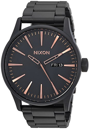NIXON Sentry SS A381 - All Black/Rose Gold - 125M Water Resistant Men's Analog Classic Watch (42mm Watch Face, 23mm-20mm Stainless Steel Band) (Player Black Nixon)