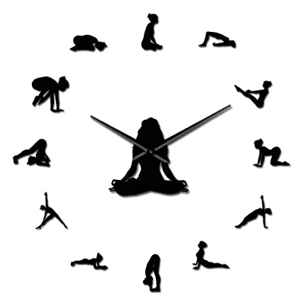 Amazon.com: GZGJ Yoga Poses DIY Giant Wall Clock Find Your ...