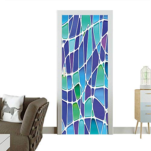 Homesonne Door Sticker WallpaperMosaic Style Forms Trippy Abstract Vivid Figures Display Purple Jade Green Royal Blue Fashion and Various patternW38.5 x H79 INCH
