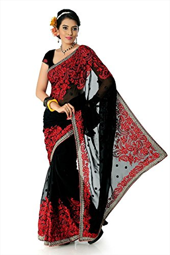 Bollywood Women's Indian Ethnic Designer Black color Faux - Sarees Indian