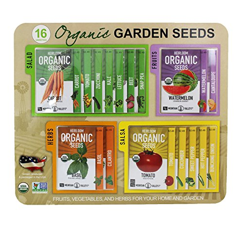 Certified Organic, Heirloom, Non-GMO Garden Seeds - Salad, Salsa, Fruit, Herb, Vegetable – Collection of 16 Varieties: Carrot, Tomato, Lettuce, Peppers, Onion, (Grow Salsa Garden)
