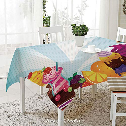 AmaUncle Premium Waterproof Table Cover Yummy Menu with Chocolate Raspberry Cherry Orange Strawberry Flavors Image Decorative Resistant Table Toppers (W60 -