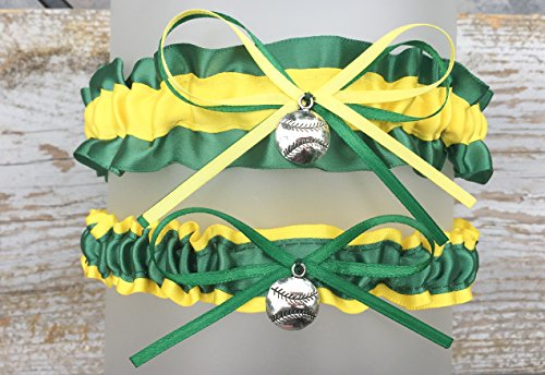 Sexy Green Yellow Oakland Inspired Satin Baseball Charm Wedding Keepsake Bridal Garter ()