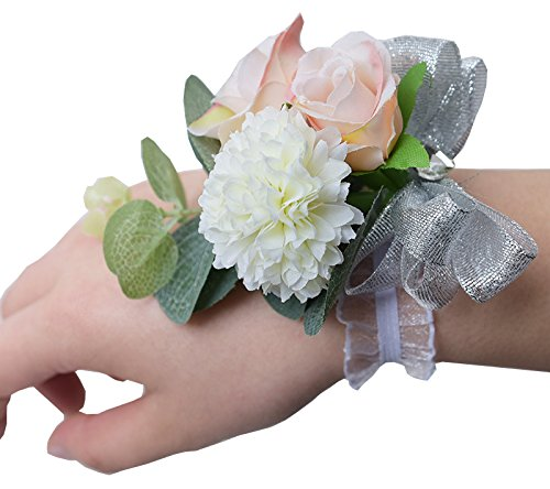 Zippersell-Wedding-Bride-Wrist-Corsage-Bridesmaid-Wrist-Flower-Corsage-for-Wedding-Prom-Party-Homecoming-Pack-of-2