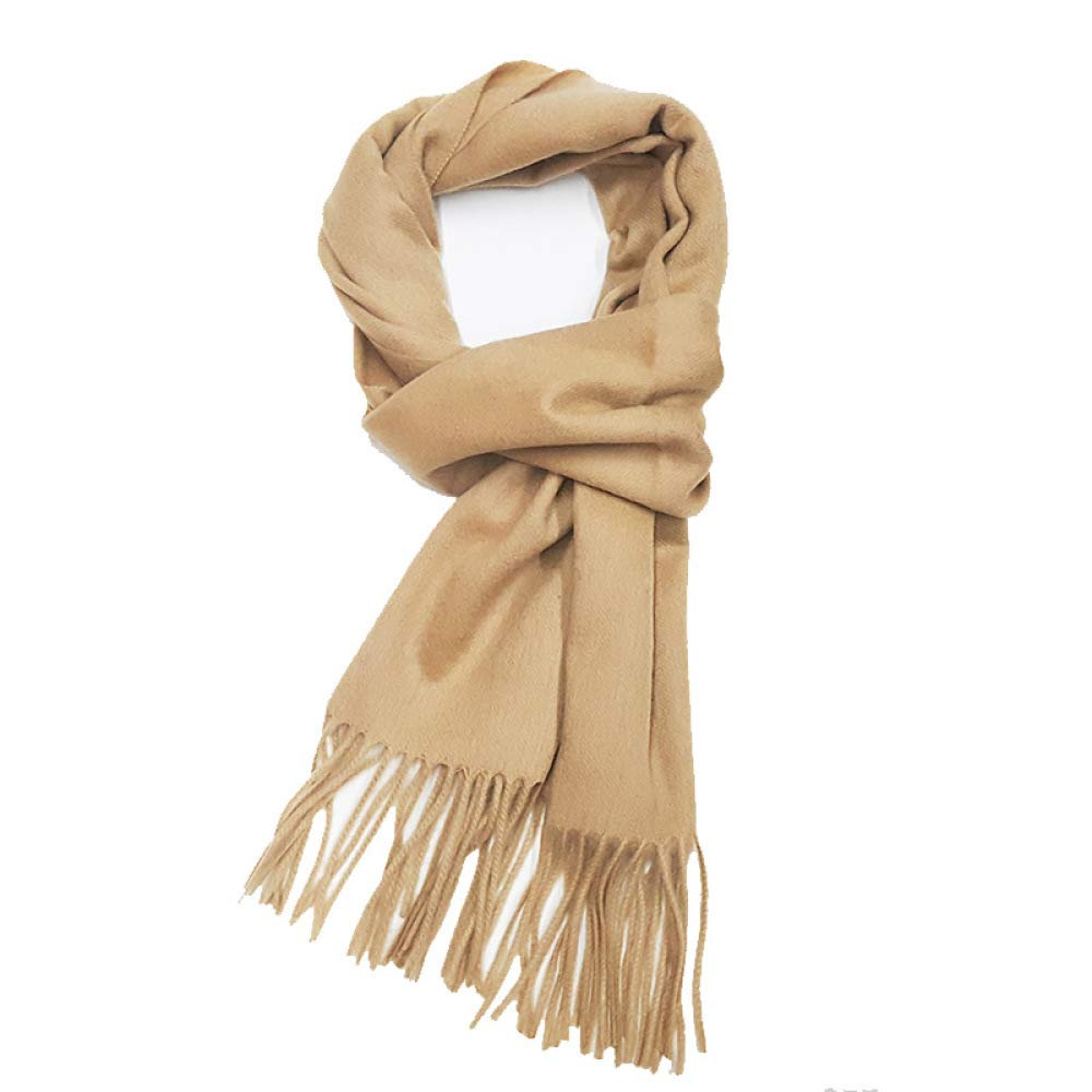SLR Autumn and Winter Thick Long Tassel Cashmere Scarf, Solid Color Shawl, Men and Women Multi-Purpose Scarf, Shawl Dual-use,Yellow,200cm