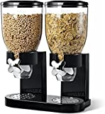 Denny International® Double Plastic Classic Dry Food Cereal Dispenser Double Canister, White Transparent (Black)