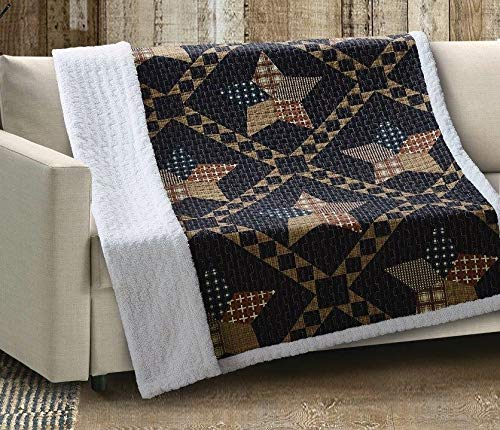 "Virah Bella Paducah Quilt 50"" x 60"" Throw with Sherpa Backing, Primitive Brown Star"
