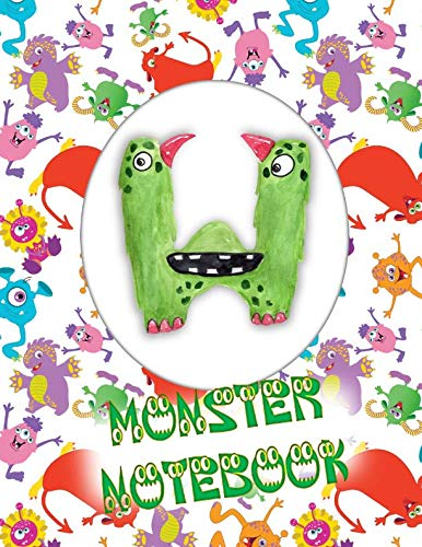 W Monster Notebook: Kids Monogrammed Journal and Doodle -