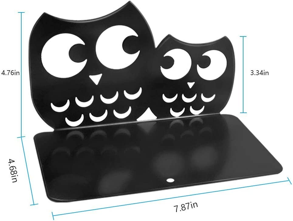 BestFire Black Bookends 1 Pair Metal Book Dividers Heavy Duty Nonskid Book Holder Stand Sturdy Owl Desk Book Organizer Adjustable Animal Art Book Ends Decorative for Kids Shelves and Heavy Books