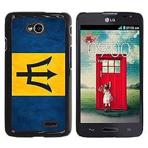 Caucho caso de Shell duro de la cubierta de accesorios de protección BY RAYDREAMMM - LG Optimus L70 / LS620 / D325 / MS323 - Barbados Grunge Flag
