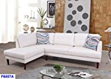 Cheap Beverly Fine Furniture SH6007A Emeral Left Facing Faux Leather Sectional Sofa, White