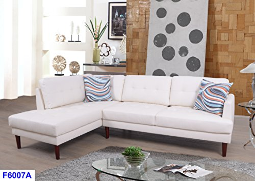Beverly Fine Furniture SH6007A Emeral Left Facing Faux Leather Sectional Sofa, White