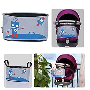 Homgaty Baby Jogge Stroller Organizer Bag with Cup Holder, Universal Pram Pushchair Caddy Hanging Pouch Bag for Diaper,Iphone, Water Botter, Books, Toys (Robot Pattern)