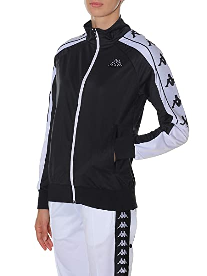 4265f380 Kappa Women's Anay Zip Front Track Top Black/White - Various Sizes: Amazon. co.uk: Clothing