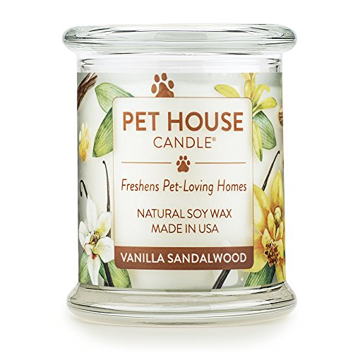 One Fur All - 100% Natural Soy Wax Candle, 20 Fragrances - Pet Odor Eliminator, Appx 60 Hrs Burn Time, Non-toxic, Eco-Friendly Reusable Glass Jar Scented Candles – Pet House Candle, Vanilla Sandalwo