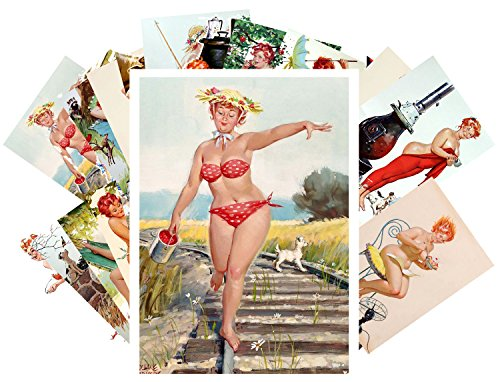 (Pinup Postcard Pack 24pcs Hilda Chubby Sexy Redhead Pinup Girl Vintage Illustration)