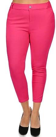 9885c4393d6 Simlu Womens Fitted Jean Look Legging Solid Color Basic Plus Size Capri  Jeggings Fuchsia 1X Plus
