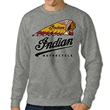PPAP Men's Indian Motorcycles Logo Crew - Neck Pullover Long Sleeve Sweatshirt Ash
