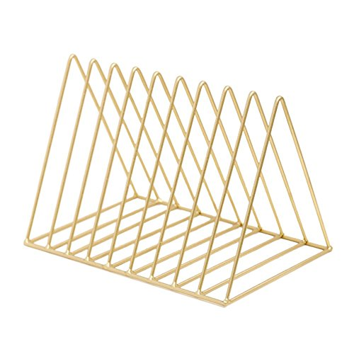 Living Room Metal Magazine Rack - Heatleper Heavy Duty Metal Triangle Shape Newspaper Magazine Holder, Document File Stand Book Rack Organizer for Office School Home (Gold)
