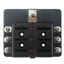 Iztor 6 Way Light Fuse Box Block Screw Terminal Block Fuses Single PE Package Accessories on Cars, Trucks, Motorhomes