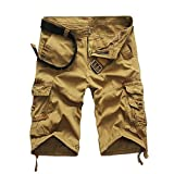 PASATO Clearance!Fashion Mens Casual Pocket Beach Work Casual Short Trouser Shorts, Classic Comfortable Cotton Pants(Khaki, 32)