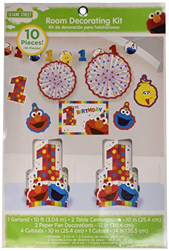 amscan 1st Birthday Elmo Room Decorating Kit 10 Piece Party Supplies Elmo Sesame Street Fun to be -
