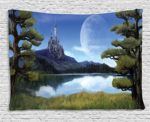 Ambesonne Fantasy Decor Tapestry, Moon Surreal Scene with Riverside Lake Forest and Medieval Castle on Hill Art, Wall Hanging for Bedroom Living Room Dorm, 80 W X 60 L Inches, (Castle Hill Collection)