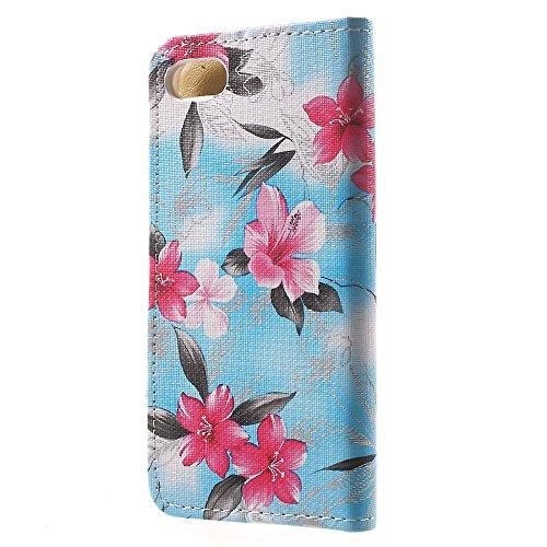 Apple iPhone 7Sac étui Cover Case de protection Motif floral Bleu decui Bleu Housse en simili cuir