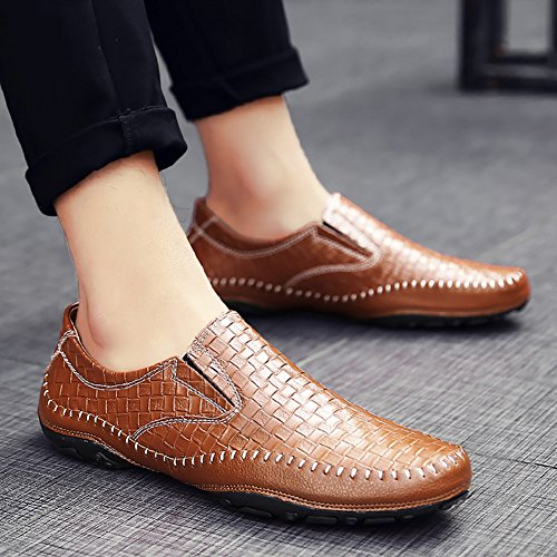 Casual Fashion Shoes slip Town Loafers Driving Flats on Leather 66 Men's Brown Soft No Comfortable AnxOq