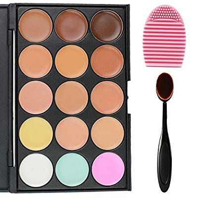 EVERMARKET 15 Colors Professional Concealer Camouflage Makeup Palette Contour Face Contouring Kit + 1 PC Premium Oval Make Up Brush + 1PC Silica MakeUp Washing Brush