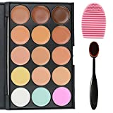 EVERMARKET 15 Colors Professional Concealer Camouflage Makeup Palette Contour Face Contouring Kit + 1 PC Premium Oval Make Up Brush + 1PC Silica MakeUp Washing Brush by Evermarket