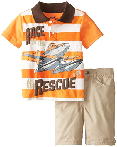 Disney Little Boys' 2 Piece Race To The Rescue Planes Short Set, Orange, 4T