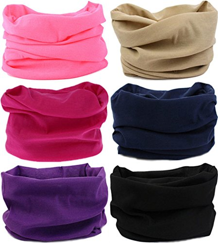 VANCROWN Headwear Head Wrap Sport Headband Sweatband 220 Patterns Magic Scarf 12PCS & 6PCS 12 in 1 (6PCS.Solid Color 2)