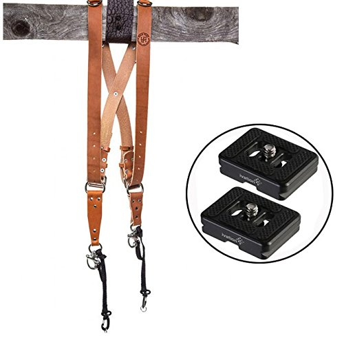 HoldFast Gear Money Maker Multi-Camera Harness, Bridle Leather, Medium, (Tan) and Two Replacement TYC-10 Quick Release Plates for the Sirui C-10X Ball Head Tripod Heads