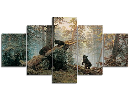 Large Wall Art on Canvas Painting Living Room Morning in a Pine Forest Black Bears Playing on Fallen Broken Trees Picture Stretched Framed Ready to Hang Home(60'' W x 32''H) (Living Pine Room)