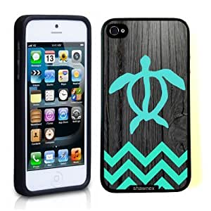 Iphone 5 5S Case Thinshell Case Protective Iphone 5 5S Case Shawnex Teal Hawaiian Turtle Honu On Dark Wood
