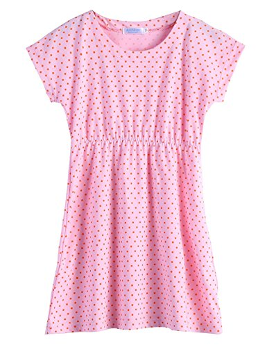 Price comparison product image Arshiner Kids Girls Short Sleeve Swim Coverup Casual Dress, Pink, 120(Age for 6-7Y)