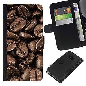 [Neutron-Star] Modelo colorido cuero de la carpeta del tirón del caso cubierta piel Holster Funda protecció Para HTC One M9 [Coffee Beans Macro]