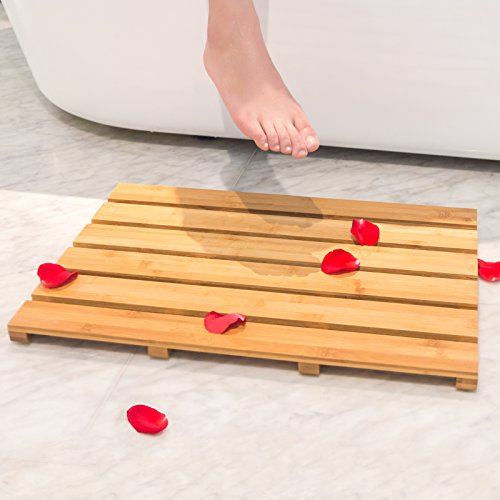 Bath Shower Mat Bamboo Bathroom Floor Non-sliding Square Spa Sauna Mat with 22x15-Inch by BAMBUROBA (Bath Wood Mat)